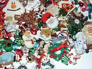 Vintage-now All Christmas Junk Jewelry Lot 2 Lbs Crafts Parts Free Ship 1