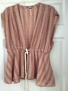 Free People Red/natural Striped Deep Plunge Open Rope Tie Vest Tunic Top Size 10