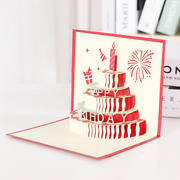 100 Happy Birthday Cake Pop Up Greeting Card Handmade Father's Day Surprise Card
