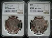 South Africa R5 2019 Silver Proof 1oz Two Coin Big5 Elephant Ngc Pf69