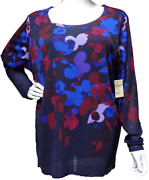 Coldwater Creek Blue Floral Long Sleeves Scoop Neck Plus Size Stretch Top 1x