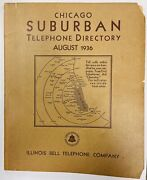 Antique August 1936 Chicago Suburban Telephone Directory Illinois Bell