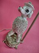 Vintage Mid Century White Poodle Table Lamp W/ Metal Base 1950's Tested Works