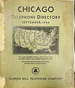 Antique September 1936 Chicago Telephone Directory Illinois Bell