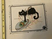 """Funny Cat Fishing Guilty """"who, Me"""" Finished Cross Stitch Needlepoint Unsigned"""