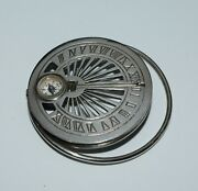 Vintage Mappin Webb Money Clip Sundial Compass Sterling Silver Paris France 1866