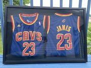 Two 100 Authentic Lebron James Adidas Swingman Jerseys Framed In Mint Condition