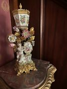 Antique Potpourri Cherub Angel Cup And Lid Hand Painted Porcelain Andgilded Metals