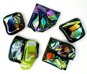5 Unique Handmade Textured Fused Art Glass Iridescent For Jewelry Crafts Lot B