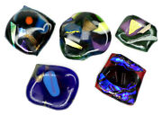 5 Unique Handmade Fused Art Glass Pieces For Jewelry Crafts Mosiacs Etc... Lot E
