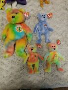 1st Gen Beanie Baby Peace Bear Lot, Mint Condition..sold As A Family 93/ 10yrs