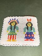 Vintage Native American Indian Artisan Beaded Leather Small Coin Purse Wallet
