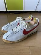 Nike Leather Cortez White X Red Made In Korea Men's 10 Half 80s Vintage Used