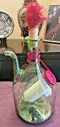 Vtg Hand Blown Green Glass Wine Decanter Carafe Ice Chamber Chiller 13 Italy