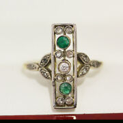 Antique Ring With Diamonds And Emerald Georgian Ring With European Cut Diamonds