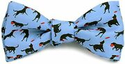 Josh Bach Men's Frisbee And Dog Self Tie Silk Bow Tie In Blue, Made In Usa