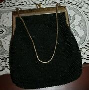 Antique Black And Gold Beaded Purse - Hand Made In Hong Kong