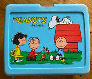 Vintage Peanuts Lunch Box By Thermos Charlie Brown Snoopy Plastic Blue