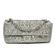 Graphic Edge Patent Vinyl Quilted Flap Bag Silver