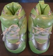 """Snooki Slippers Happy Feet Lime Green """"sneakers"""" Non-skid Size S 2-4"""
