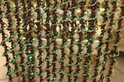 Vintage Christmas Beaded Garland - Red Green Gold - Lot Of 8 X 9and039 Long Each -72and039