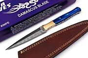 9 Damascus Steel Fixed Blade Spearhead Hunting Knife Blue Wood Handle W/ Case