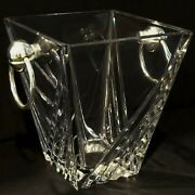 Elegant Glass Bar Ice Bucket W/ Silver Ring Handles 6-1/2 Tall Tapered Square