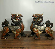 Antique Chinese Old Dynasty Bronze Silver Gilt Fengshui Unicorn Statue Pair
