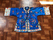 Elegant Antique / Vintage Chinese Silk Robe With Butterflies And Flowers
