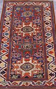 Antique Caucasian Lesghi Star Kazak Tribal Hand Knotted Wool Oriental Rug 3and039x5and0396