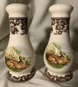 Spode Woodland Large Salt And Pepper Shakers Rabbit Hare Pattern