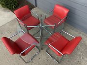 Vintage Cantilever Chrome Table With Glass Top And Four Ruby Red Vinyl Chairs