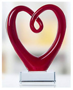 Art Glass Heart Sculpture Centerpiece Party Home Decoration Gift Murano Style