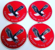 """Dayton Wire Wheels Set Of 4 Red And Chrome Metal Eagle Emblems Size 2.38"""""""