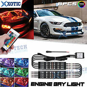 8pc Rgb Multi Color Led Engine Bay Lighti Kit 1 4-outlet For Ford Mustang Fusion