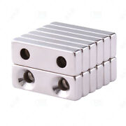 N35 With Double Holes Neodymium Block Powverful Magnets Rectangle Rare Earth