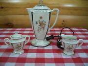 Vtg Porceliers Porcelain Coffee Percolator Creamer Sugar Cord Tested 1930and039s