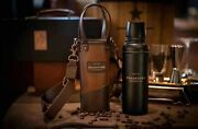 Starbucks Fatherand039s Day Gift Holster Thermos Bottle W Leather Holder And Box 13.5oz