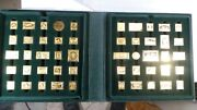 Official Postmasters America Greatest Stamps 50 Gold On 925 Silver Franklin Mint