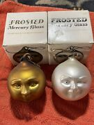 Dept 56 Man In The Moon Gold/white Frosted Mercury Glass Ornament 100mm Two