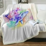 Art Sea Abstract Whale Ocean Sherpa Plush Throw Blanket Fleece Bed Sofa Couch