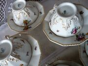 Nymphenburg Bavaria Perl Pearl Dodecagon Set 4 Tea Cup Saucer Sets Flowers 982