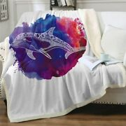 Abstract Purple Art Whale Ocean Sherpa Plush Throw Blanket Fleece Bed Sofa Couch