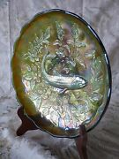 Millersburg Carnival Glass Iridescence Green Trout And Fly Ice Cream Shape Bowl