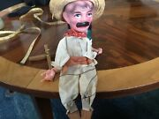 Vintage Marionette Puppet, Paper Mache Face Hand Painted, String Puppet