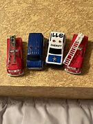 Majorette Lot Of 4 Emergency Vehicles. Non Working Flashers. Sheriff Police Fire