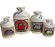 4 Hearth And Home Designs Handhd Farmers Market Canisters Burlap Sacks Ceramic 1988