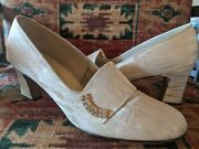 Vintage 40s Evening Shoes Delmonico Silver, Gold And Rhinestone Pumps Sz 7n