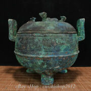 8 Antique Chinese Bronze Ware Dynasty Palace Beast Handle 3 Foot Censer
