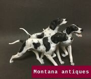 Vintage 20th Original Group Of Pointers Figurine Rosenthal / Germany Marked 18cm